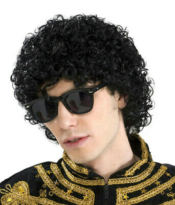 80's Pop King Michael Jackson Short Black Afro Look Adult Wig - Mens Afro Wig