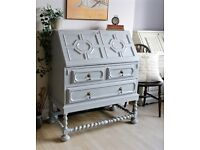 Lovely Antique Shabby Chic Painted Bureau Desk Cabinet Drawers. We deliver