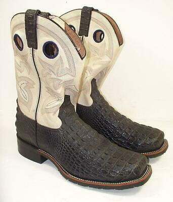 "Double H Mens 12"" Caiman Print Square Steel Toe 13 D Western Work Boots DH5230"