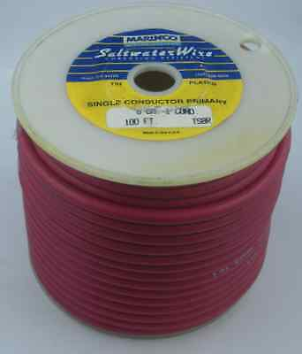 Marinco TS8R 8 Gauge Red Stranded Wire Tinned Copper 100 Ft 15585
