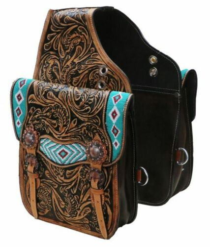Leather Western Horse Saddle Bags TEAL BEADED INLAY Motorcycle ATV HORSE SB-63