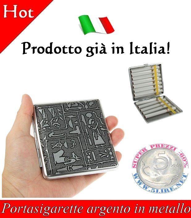 Portasigarette in metallo argento articoli per fumatori Porta Sigarette Metallo