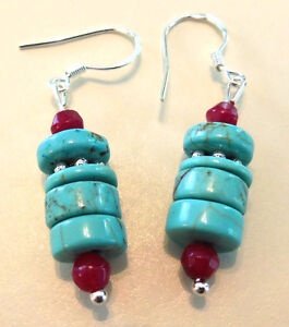 Genuine Ruby & Turquoise Heishi Gemstone .925 Sterling Silver Earrings 1 5/8