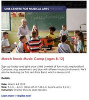 March Break Music Camp - UNB Centre for Musical Arts