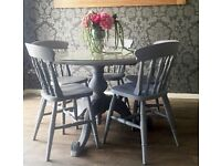 Dining room table and chairs - solid hand carved pine - can deliver