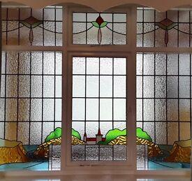 Original Edwardian Stained Glass Window Panels