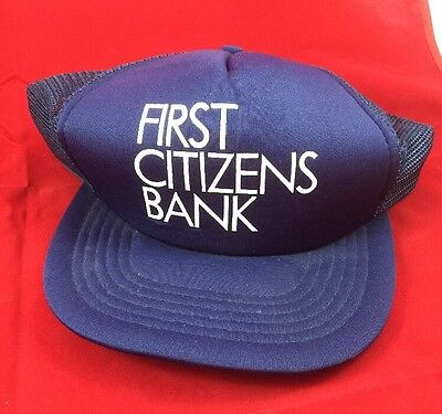 Hat Cap Vintage Mesh Trucker Foam Snapback Hipster Navy First Citizens Bank Euc