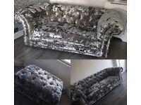 3 piece set velvet crushed sofa