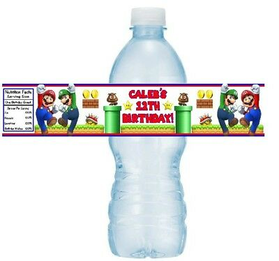 12 Super Mario Brothers Birthday Party Water Bottle Wrappers Stickers Label Bros (Super Mario Brothers Stickers)