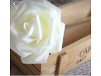 300 ivory foam rose heads