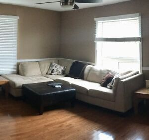 Beautiful Oakdale Micro-suede Sectional with Leather Ottoman!