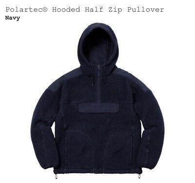 Supreme Polartec Fleece Hooded Half Zip Sweatshirt Hoodie Size Large Navy FW17