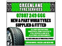 TYRES NEW AND PART WORN SUPPLIED AND FITTED ALL CREDIT AND DEBIT CARDS TAKEN GREENLANE FELLING 1