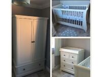 Ivory Cotbed, Drawers and Cupboard. The Orchard range from mamas and papas