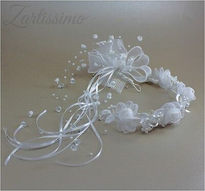 2-teiliger Kopfschmuck Haarschmuck Kommunion Haarkranz Mädchen Kamm Perlen weiß