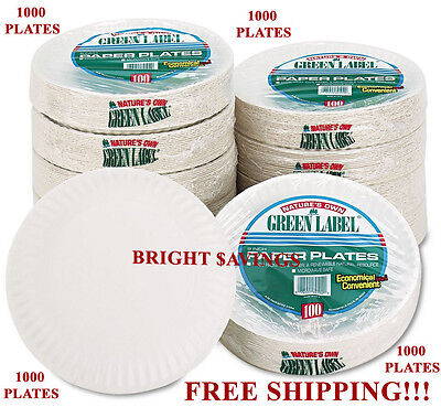 1000 White Paper Plates - 9 inches Diameter