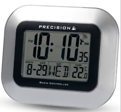 Precision Radio Controlled Silver Large Screen LCD Clock Home Office PREC0102