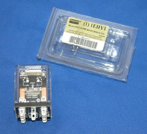 Dayton 1EHY1 Latching Relay, DPDT 16A, 240VAC, Single Coil Volts. NEW