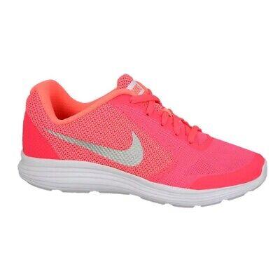 NIKE Girls sz 5Y (WOMEN'S 6 1/2) Revolution 3 SE  Lava Glow/White Running Shoe