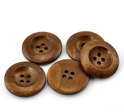 25 Brown Wooden Buttons - 25mm (1 inch) - 4 Holes  (21317)