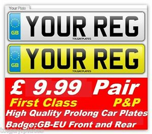 YOUR REG 1 SET GB-EU Standard OBLONG Car Number Plates 100%DVLA MOT ROAD LEGAL