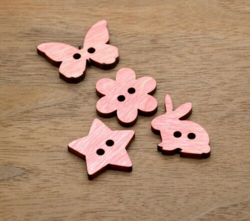 Set of 20 Wooden Buttons - 5 of each design- Ideal for crochet and knitted