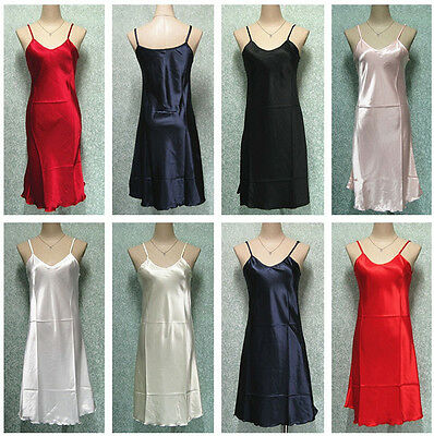 US Ladies Nightwear Long Satin Chemise Babydoll Night Dress Gown -