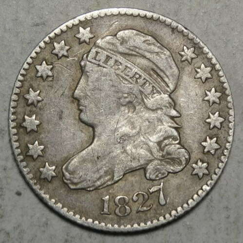 1827 Capped Bust Dime, Fine, Discounted Early Type Coin    0605-07