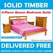 BRAND NEW Solid Timber QUEEN Bedroom Suite - DELIVERED FREE New Farm Brisbane North East Preview