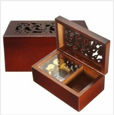 Wooden Rectangle Carving Jewelry Music Box: Canon in D