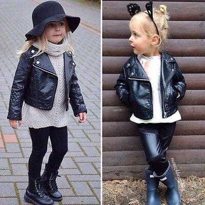 US Fashion Black Short Leather Jacket Warm Biker Jacket Coat for Girls Toddler - Toddler Biker Jacket