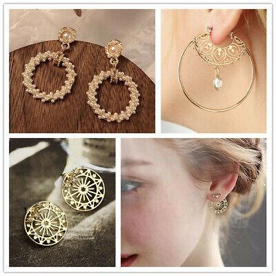 Ohrringe große Ohrstecker Vintage Modeschmuck für party goldfarbig