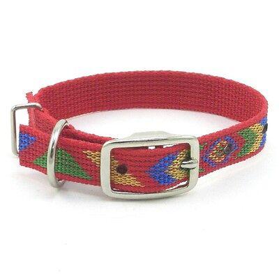 "Hamilton ST Nylon Dog Collar, 14"" x 3/4"", Red with Navajo Pattern"