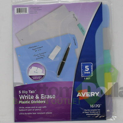 Avery Write-on Ultra Durable 5 Big Tab Write Erase Plastic Dividers 2 Packs