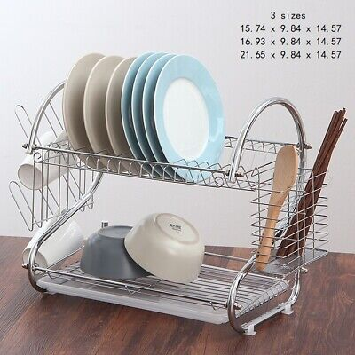 S-shape Kitchen Dish Cup Drying Rack Drainer Dryer Tray Cutlery Holder Organizer