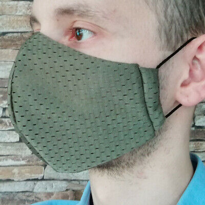 Gr L Coolmax® Mesh Arbeitsmaske 8-Stunden Mundschutz Gesichtsmaske oliv khaki