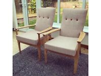 Parker Knoll model PK 988 designer lounge chairs / Refurbished / Reupholstered