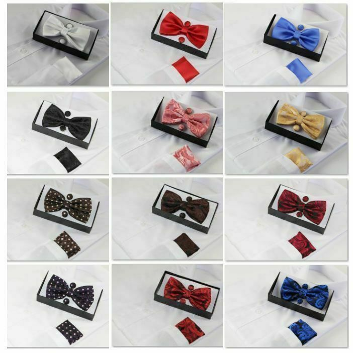 Mens Matching Bow Tie & Pocket Square & Cuff Links Set Neck Hanky Black Wedding