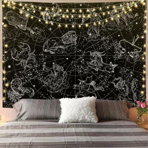 Interstellar print background cloth painting tapestry home decor black
