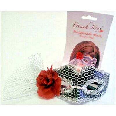 Masquerade French Kiss Mask Silver Red Flower Mesh Trim Mardi Gras Party - French Masquerade Costume