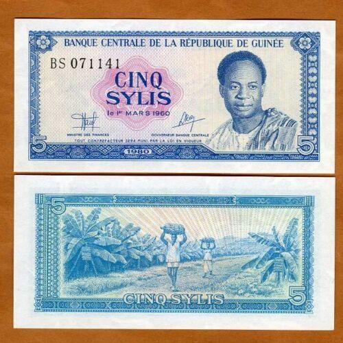 Guinea, 5 Sylis, 1980, P-22, UNC > President of Ghana Kwame Nkrumah