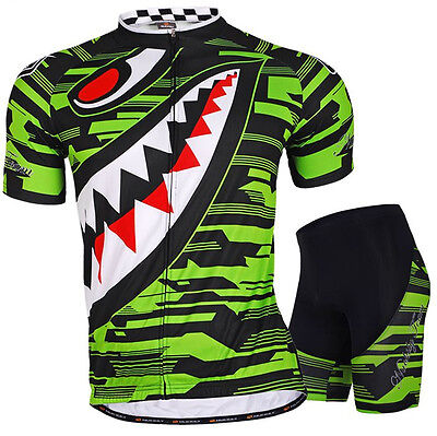 (Men's Road Bike Team Clothing Short Sleeve Jersey Shorts Kits Riding Outfits GRE)