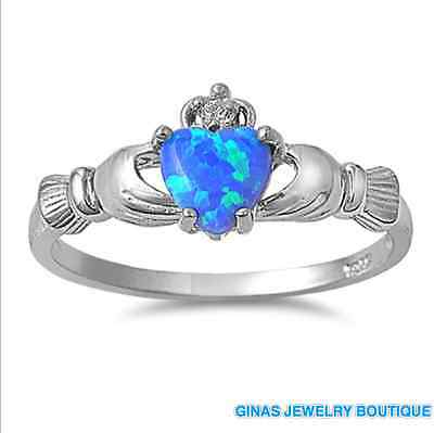 PRETTY BLUE OPAL IRISH CLADDAGH CELTIC RING Genuine Sterling Silver.925 3 TO 12 (Opal-irish Ring)