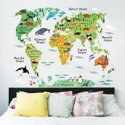 Wall Stickers World map Continent Wall Tattoo Art Decal Home Decor child kid -