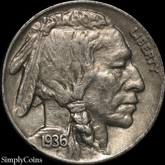 1936 Indian Head Buffalo Nickel ~ XF Extremely Fine ~ US Coin