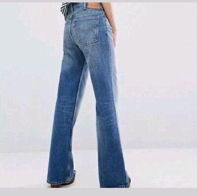 Skinny Wide Leg Jeans (Vintage LEVI Women's Wide Leg Skinny Jeans SZ 29 Medium Wash Ripped Knee NWT)