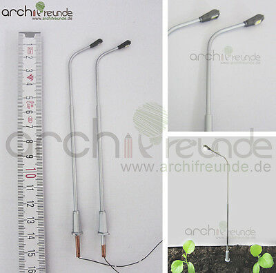 2 x LED moderne Kupfer Straßenlampe 13,5cm Modellbau 1:75 Eisenbahn Spur 00