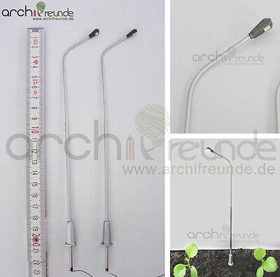 2 x LED moderne Kupfer Straßenlampe 21cm Modellbau 1:50 Modelleisenbahn Spur 0