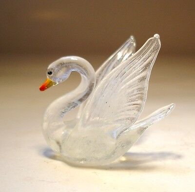 "Blown Glass Figurine ""Murano"" Small Bird White and Clear SWAN"