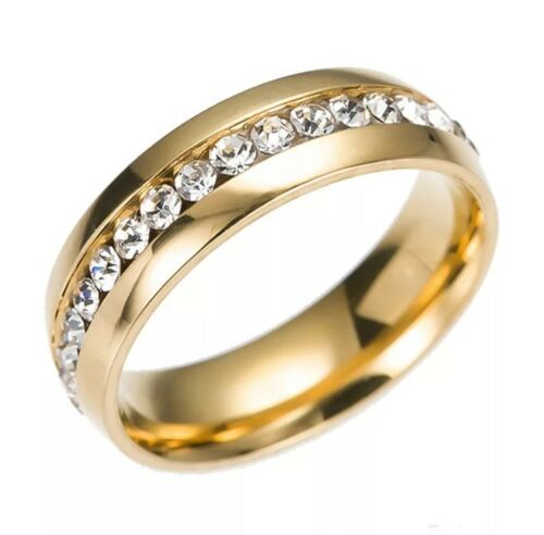 Crystal Wedding Rings For Women Men Stainless Steel Engageme